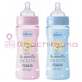 Chicco MR Wonderful biberón de silicona rosa o azul +4M flujo rápido 330 ml