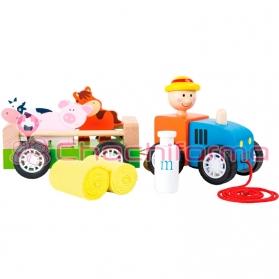 Legler Tractor de madera y Granjero con Animales REF 10242