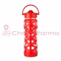 Lifefactory botella 650ml axis straw cap charged red