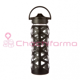 Lifefactory botella 650ml axis straw cap onyx black