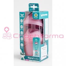 Herobility biberón rosa 140 ml