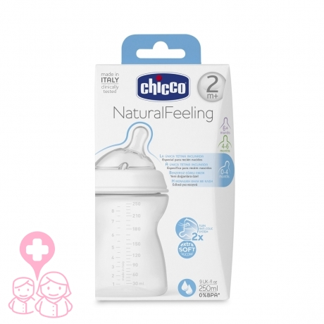 9238ee922 Chicco biberón Natural Feeling +2M efecto mamá 250 ml