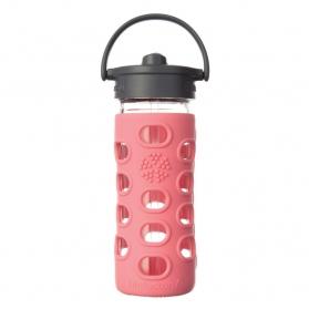 Lifefactory botella de cristal Straw Cap Coral 350ml