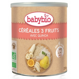 BabyBio cereales ecológicos 3 frutas con arroz y quinoa 220 gr
