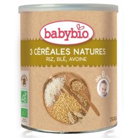 BabyBio cereales ecológicos 3 cereales arroz,avena y trigo 250 gr