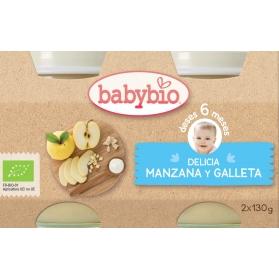 BabyBio DUPLO potitos ecológicos delicia manzana y galleta 2x130 gr
