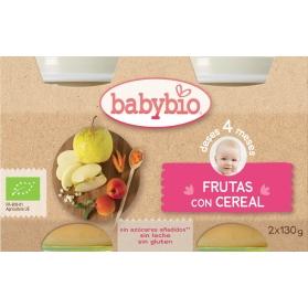 BabyBio DUPLO potitos ecológicos frutas y cereales 2x130 gr