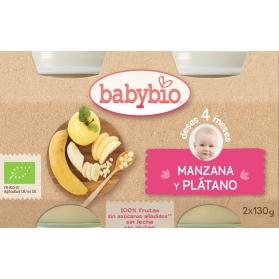 BabyBio DUPLO potitos ecológicos manzana y plátano 2x130 gr