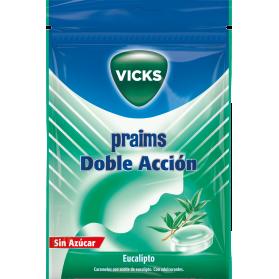 Vicks Praims doble acción sin azúcar sabor eucalipto bolsa 72 gr
