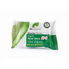 Dr Organic Aloe Vera toallitas húmedas 20 uds