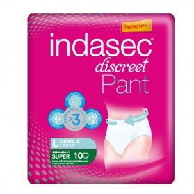 Indasec Pant Super Discreet Talla Grande pérdidas moderadas 10 uds