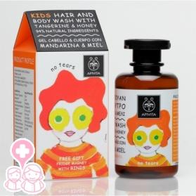 Apivita Kids champú & gel de baño con mandarina & miel 250 ml