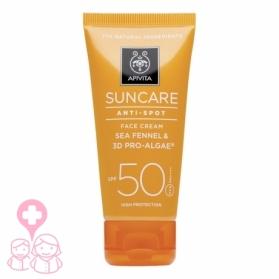 Apivita Suncare crema protección solar facial antimanchas SPF50 50ml + agua facial de té de montaña