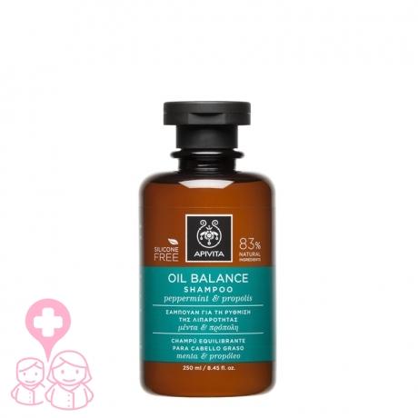 Apivita champú equilibrante para cabello graso con menta y propóleo 250 ml
