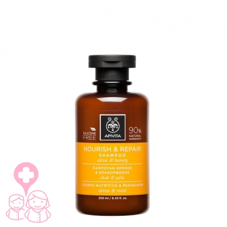 Apivita champú nutritivo y reparador con oliva y miel  250 ml