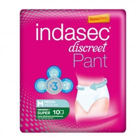 Indasec Pant Super Discreet Talla Mediana pérdidas moderadas 10 uds
