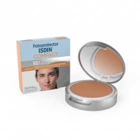 Fotoprotector Isdin Compact SPF 50+ maquillaje oil-free bronce 10 gr