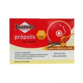 Juanola con Própolis y Regaliz calmante de garganta 24 pastillas