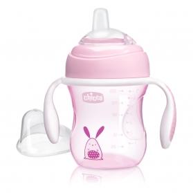 Chicco vaso de aprendizaje rosa +4M 200 ml