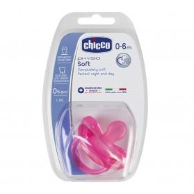 Chicco Physio Soft chupete de silicona rosa 0-6M