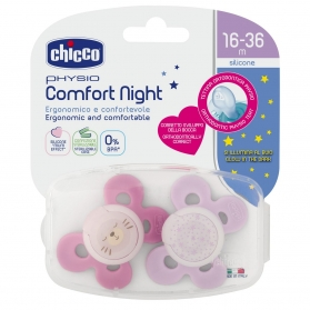 Chicco Physio Comfort Night chupete de silicona luminoso 16-36M 2 uds