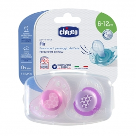 Chicco Physio Air chupete de silicona rosa 6-12M 2 uds