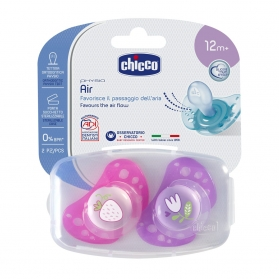 Chicco Physio Air chupete de silicona rosa +12M 2 uds