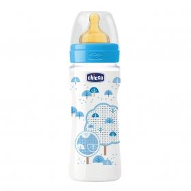 Chicco biberón de látex azul +4M flujo rápido 330 ml