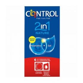 Control 2 en 1 Nature 6 preservativos + 6 lubricantes monodosis