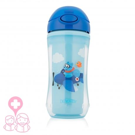 Dr Brown´s vaso térmico con pajita de silicona azul +12M 300 ml