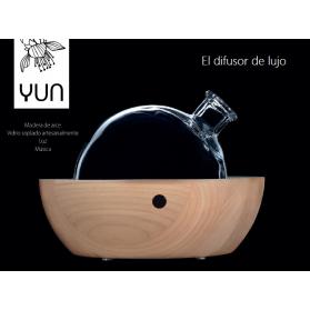 Pranarom difusor yun en madera de arce con luz y música