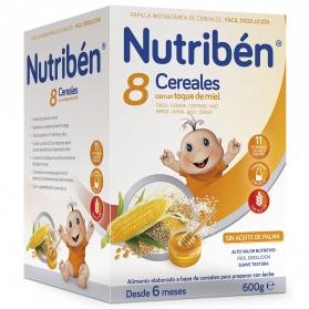 Nutribén papilla 8 cereales con miel 600 gr
