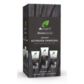 Dr organic cofre carbón activo limpiador 200 ml + mascarilla 125 ml + exfoliante 125 ml