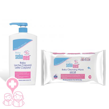 Sebamed baby leche corporal 750 ml + toallitas limpiadoras 72 unidades