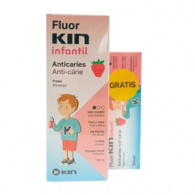Fluor Kin Infantil Anticaries PACK colutorio 500 ml + pasta dental 50 ml GRATIS