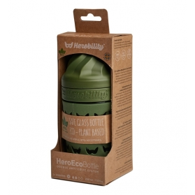 Herobility hero eco bottle biberón de cristal verde bosque 220 ml