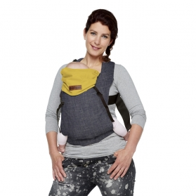 Mochila ergonómica click carrier reversible bykay dark denim/autumn yellow