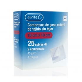 Alvita gasa estéril extra suave tejido sin tejer  10 cm x 10 cm 50 uds