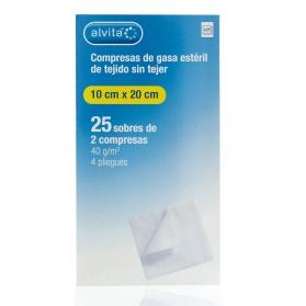 Alvita gasa estéril extra suave tejido sin tejer  10 cm x 20 cm 50 uds