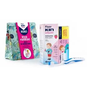 Fluor Kin Infantil Kit limpieza colutorio 500 ml + pasta 100 ml + cepillo + bolsa