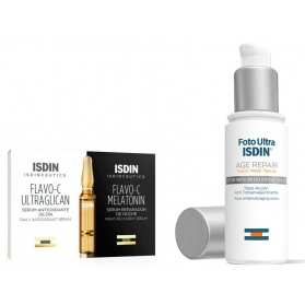 3fotoultra isdin age repair water light texture 50 ml + obsequio 3 ampollas flavo-c ultraglican