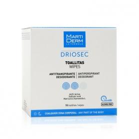 Martiderm Driosec 15 toallitas antitranspirantes con Salicílico y Chamomilla