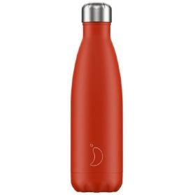 Chilly´s botella termo de acero inoxidable rojo neon 500 ml