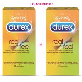Durex DUPLO Real Feel Sin Látex 12 + 12 preservativos