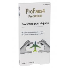 Profaes4 viajeros probiótico 14 cápsulas con lab4, aloe vera y jengibre
