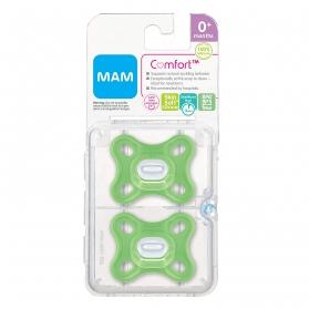 Mam comfort chupete 100% silicona verde con caja esterilizadora 2 uds