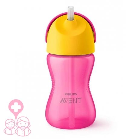 Avent vaso con pajita dino rosa +12m 300ml scf798/02