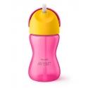 Avent Vaso con Pajita curvada Dino color Rosa 12M+ 300 ml SCF798/02