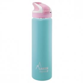 Laken summit botella térmica tapón automático 12h 0,75l color turquesa tapón rosa
