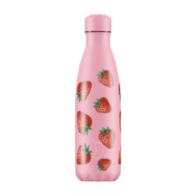 Chilly´s bottle fresas botella termo de acero inoxidable 500 ml